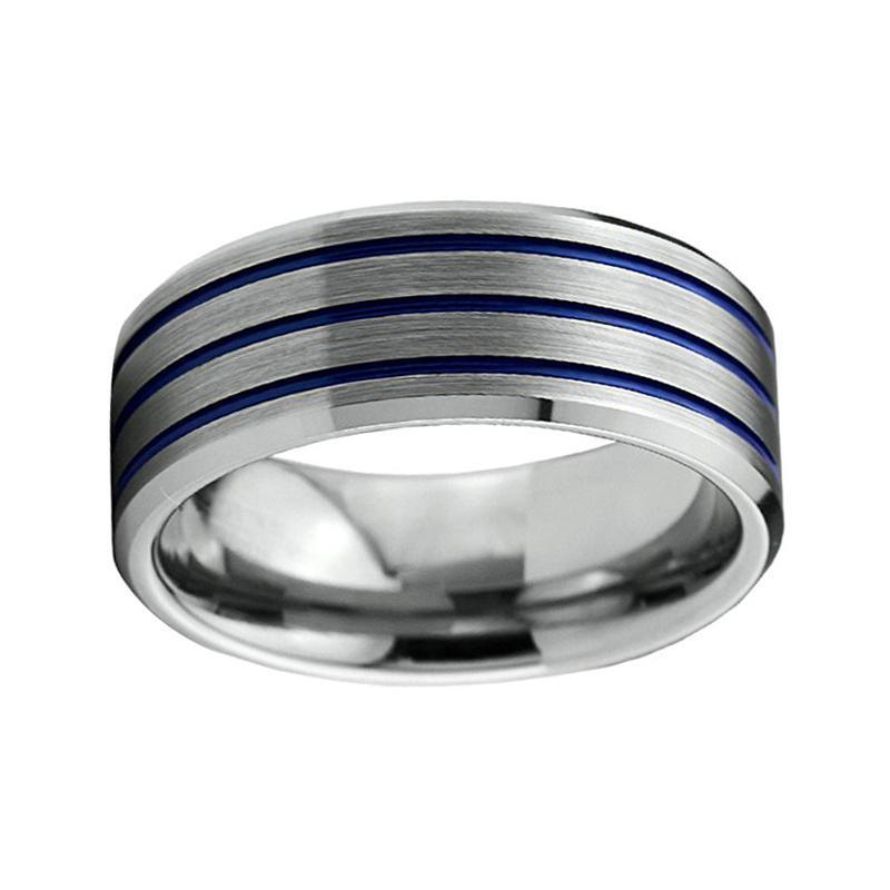 8mm Three Blue Groove with Silver Coated Tungsten Carbide Silver Ring