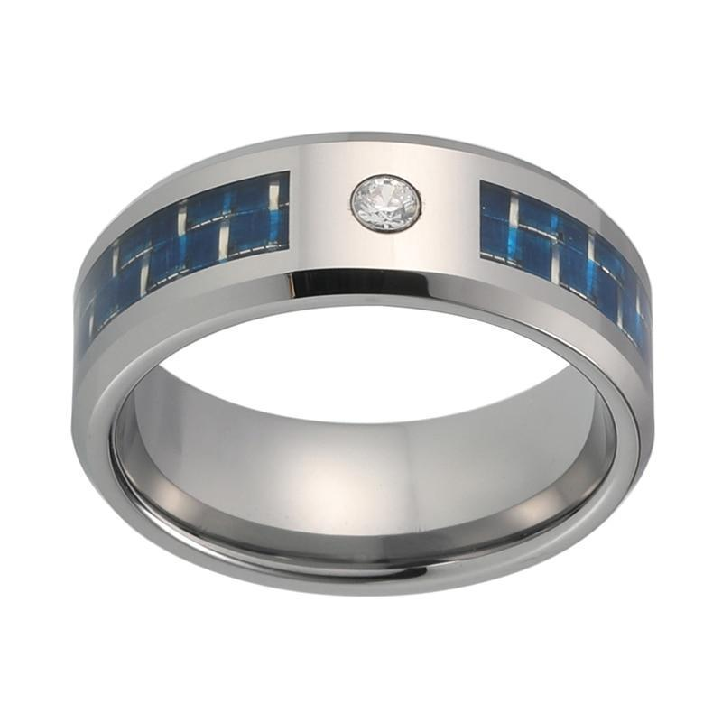 8mm Silver Coated Tungsten Carbide Ring with CZ Stone and Blue Block Pattern Inlay Wedding Band