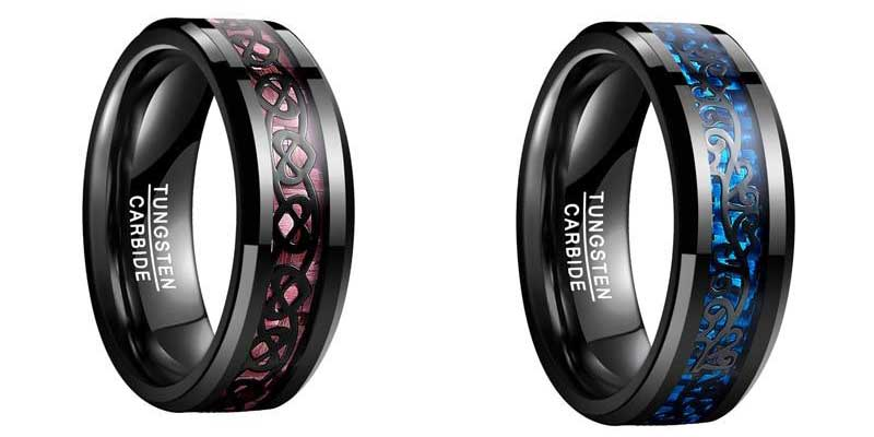 Black Vines on Blue Basket Weave Inlay Tungsten carbide Wedding Ring