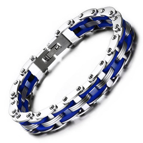 Silver & Blue Stainless Steel Motorcycle Chain Bracelet