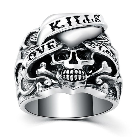 Sterling silver Love Cross Bone skull Ring