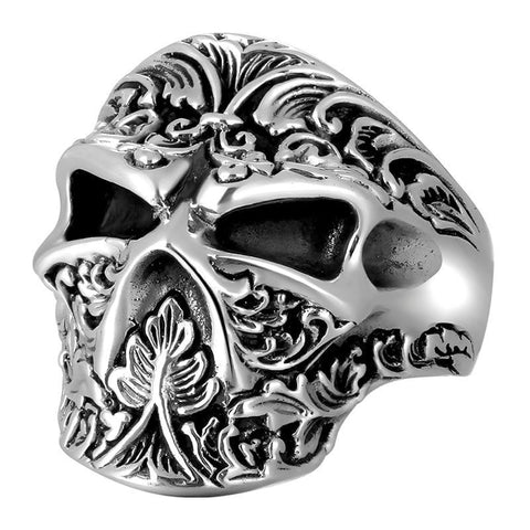 Oxidized Sterling Silver Filigree Skull Ring