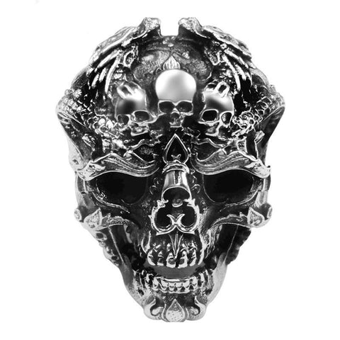 Oxidized Sterling Silver Multiple Skull Open Ring