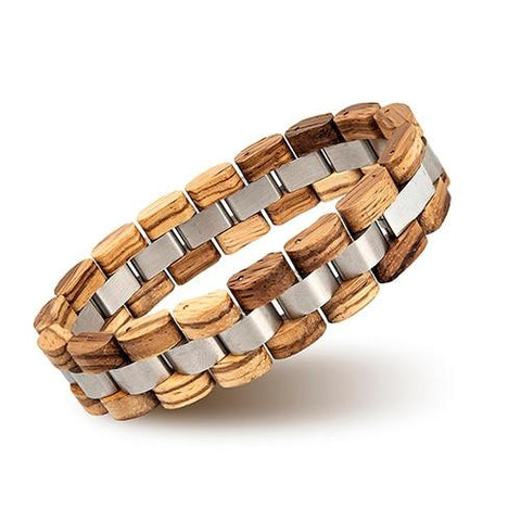 Natural Wood Stainless Steel Motorcycle Chain Bracelet