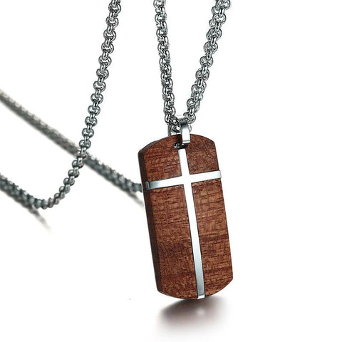 Organic Rosewood Totem Stainless Steel Cross Pendant Necklace