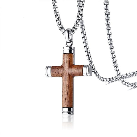 Organic Rosewood Stainless Steel Cross Pendant Necklace