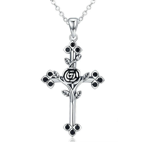 Sterling Silver Rose Fleur de Lis Cross Pendant Necklace