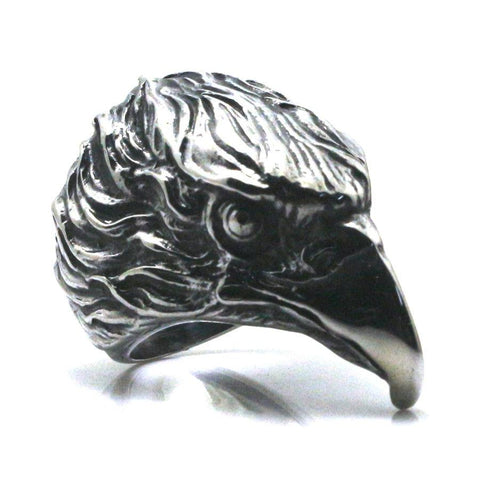 Stainless Steel 3-D Eagle Head Ring