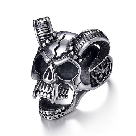 Biker Silver-Plated Horned Skull Ring