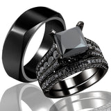 Black Zircon Couple Engagement Tungsten Wedding Ring Set
