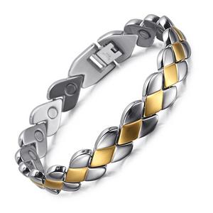 Stainless Steel Magnetic Therapy Bracelet with Adjustable Wristband