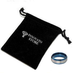 8mm Blue Stepped up Tungsten Carbide with Silver Brushed Matte Center Ring - Innovato Store