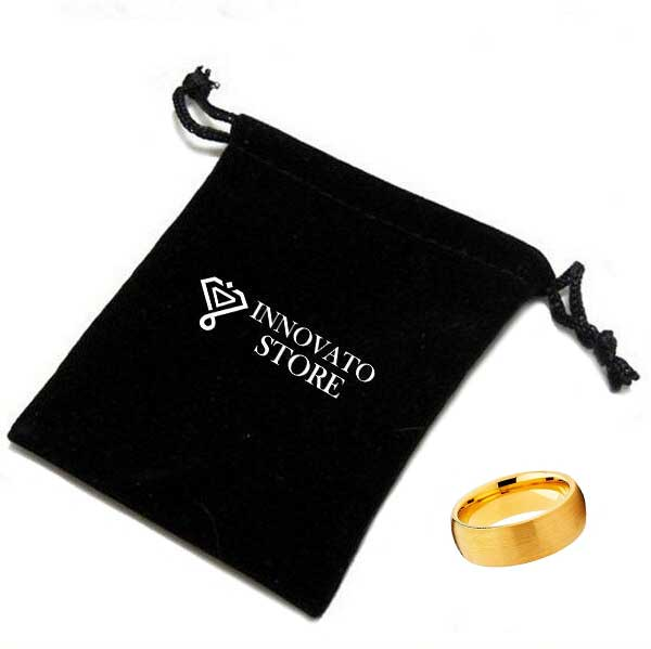 Dome Shape, Brushed Matte Tungsten Yellow Gold Plated Wedding Band - Innovato Store