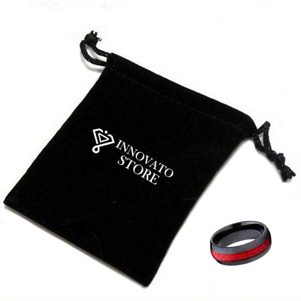 8mm Dome Shape Black Ceramic Band with Red Carbon Fiber Inlay Wedding Ring - Innovato Store