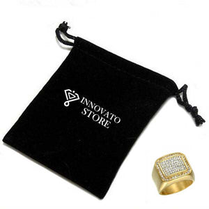 Hip Hop Micro Pave Ring with Multiple Rhinestones for Men Gold Plated