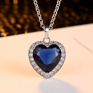 Heart Of The Ocean Blue Sapphire 925 Sterling Silver Solitaire Pendant Necklace
