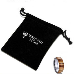 8mm Dome Shaped Wood Ring with Silver Plated Inner - Innovato Store