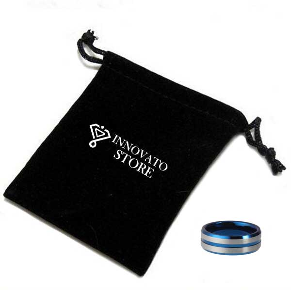 8mm Blue Tungsten with Blue Groove and Silver Brushed Surface Wedding Ring - Innovato Store