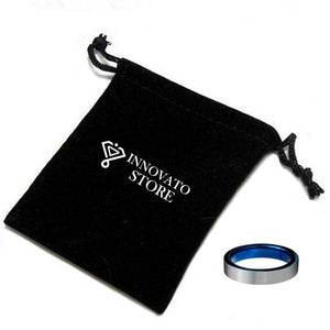 Two-Tone Black and Blue Tungsten Carbide Ring for Ladies