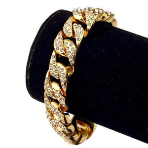 Men's Luxury CZ Crystal Golden Hip Hop Cuban Bracelets & Bangles - Innovato Store