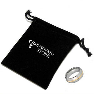 Beveled Edges Silver Plated with Gold Groove Tungsten Carbide Wedding Ring - Innovato Store