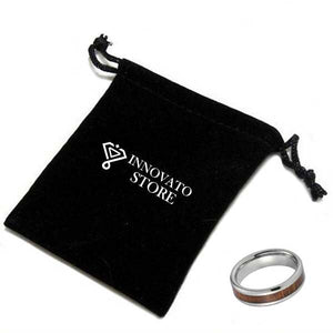 6mm Silver Coated Tungsten Carbide with Wood Inlay Wedding Ring