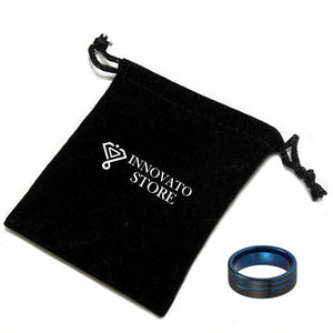 8mm Double Groove Blue Tungsten Carbide with Offset Black Brushed Tungsten Ring - Innovato Store