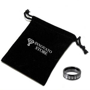 Black Tungsten Carbide with Skull Engraved Inlay Ring - Innovato Store