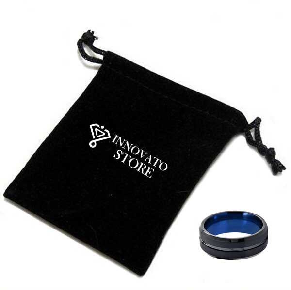 8mm Black Brushed Matte Surface with Groove and Blue Coated Tungsten Carbide Ring - Innovato Store