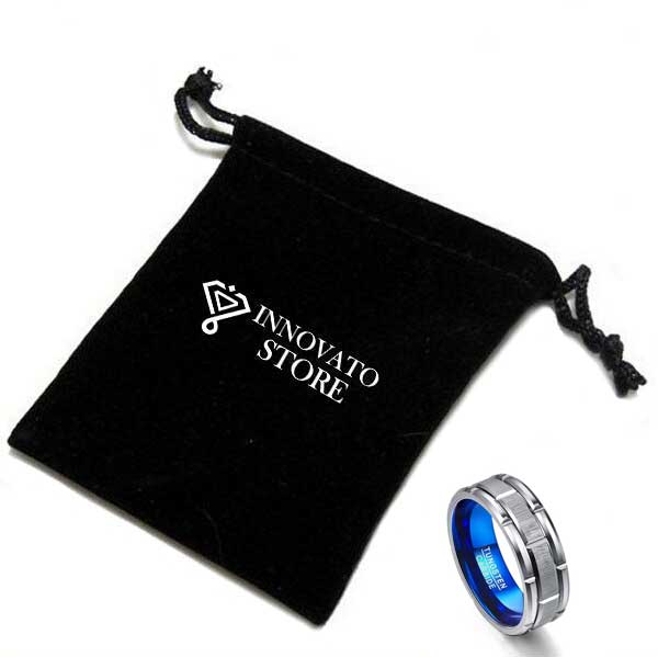 8mm Brick Brushed Pattern Tungsten carbide with Blue Color Wedding Ring - Innovato Store