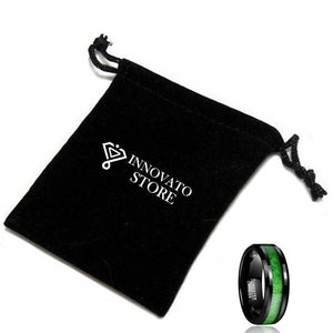 8mm Black Polished Tungsten Carbide with a Green Inlay Wedding Ring - Innovato Store