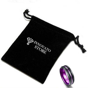 Galvanized Purple Color coated Tungsten Carbide with Black Brushed Matte Wedding Rings - Innovato Store