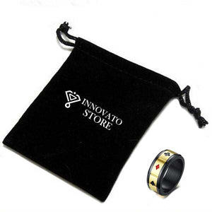 Black Spinner Tungsten Carbide with Beveled Edges and Rectangular Poker Card Shape Gold Plated Ring - Innovato Store