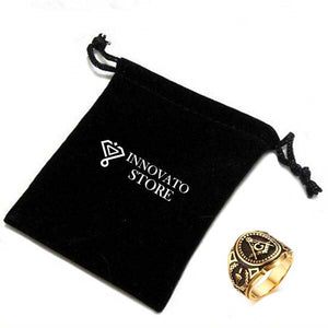 Gold and Black Plated Freemason Ring - Innovato Store