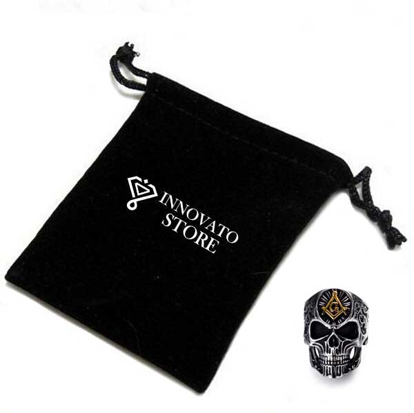 Silver & Gold Plated Stainless Steel Masonic Skull Ring