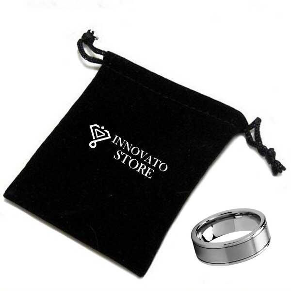 Two Strip Silver Coated Edges with Brushed Center Tungsten carbide Wedding Ring
