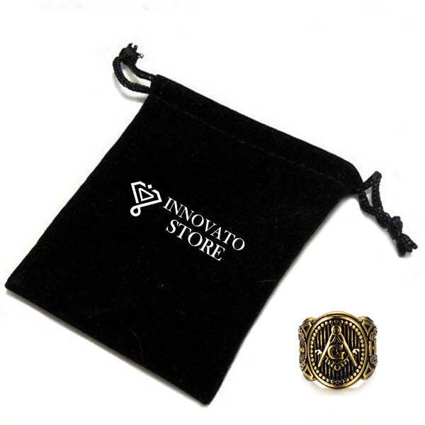 Dark Retro Gold Plated Stainless Steel Masonic Ring For Men - Innovato Store