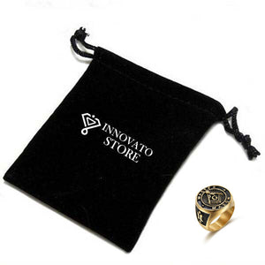 """Master Mason"" Gold Plated Stainless Steel Masonic Ring with Black Inlay for Men - Innovato Store"