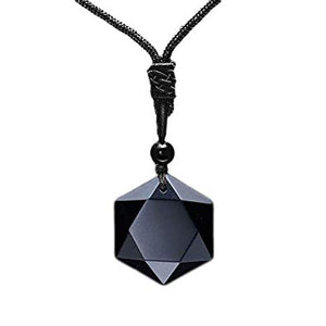 Black Stone Obsidian Six Stars Lucky Amulet Necklace Pendant