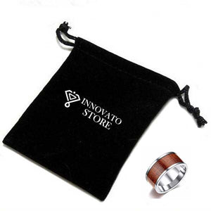 10mm Titanium Ring for Men with Pattern Brown Wood Design Inlay - Innovato Store