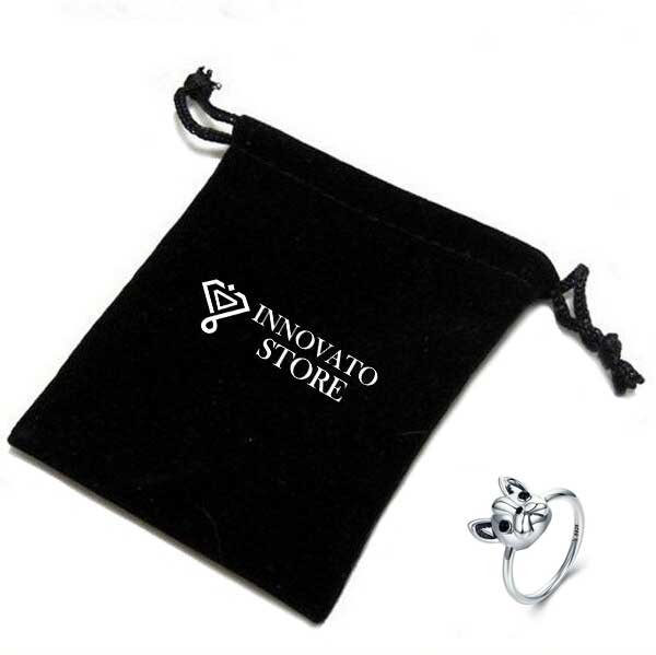925 Sterling Silver Loyal Friend French Bulldog Animal Ring for Women with Two Black Zircons as Eyes - Innovato Store