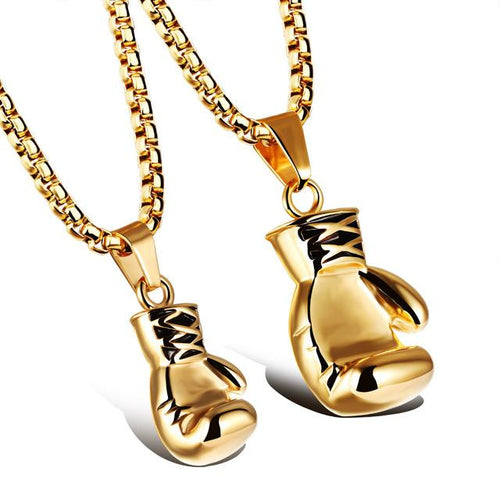 Gold, Black and Silver Plated Boxing Glove Pendant Necklace for Men - Innovato Store