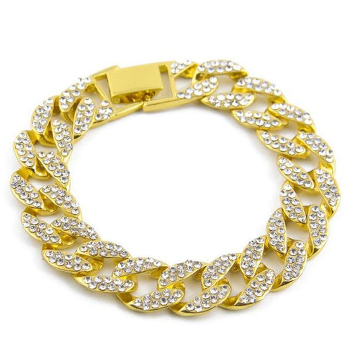 Gold & Silver Plated Hip Hop Miami Cuban Bracelet with CZ Stones - Innovato Store