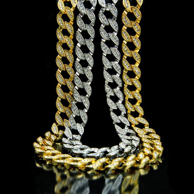 Hip Hop Rhinestone Crystal Golden Finish Men's Necklace Chain with CZ Stones - Innovato Store