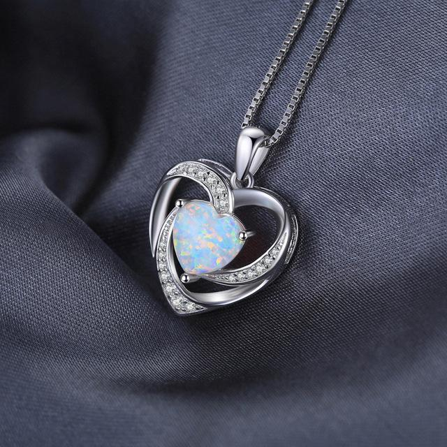 925 Sterling Silver 2.54ct Opal Love Heart Pendant/Necklace - Innovato Store