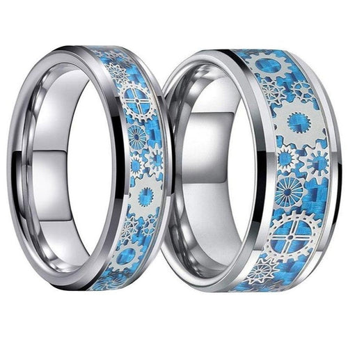 Gears & Blue Carbon Fiber Inlay Tungsten Carbide Wedding Band