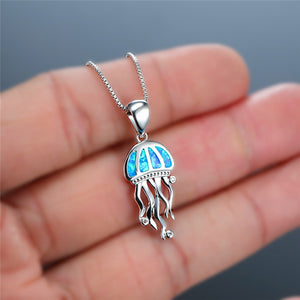 Blue Fire Opal Jelly Fish Pendant Necklace Women's Jewelry