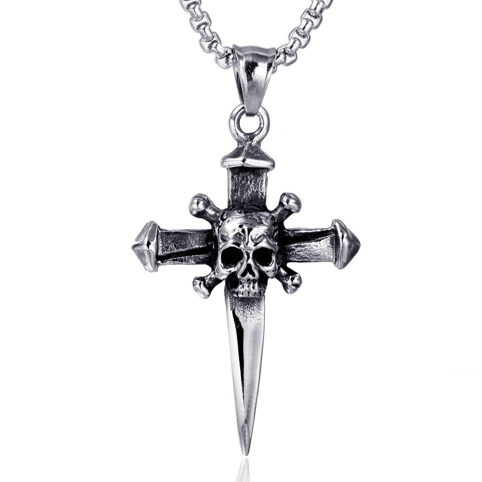 Stainless Steel Skull on a Sword Cross Pendant Necklace