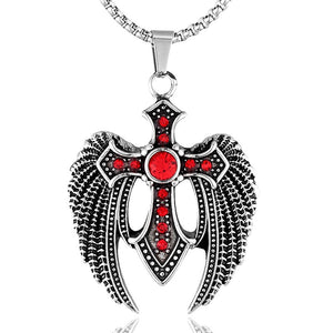 Religious Christian Cross with Angel Wings Pendant Necklace