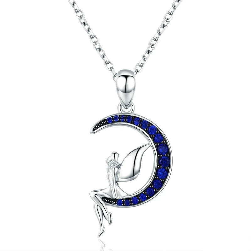 925 Sterling Silver Blue Crescent Moon and Fairy Pendant Necklace